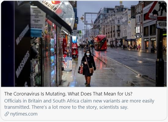 新冠病毒正在变异,这对我们来说意味着什么/《纽约时报》报道截图