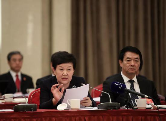 """▲黑龙江团审议""""两高""""报告时,全国人大代表谭琳提出建议。"""