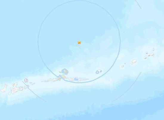 美国阿拉斯添州附近海域发生5.4级地震。(图片来源:美国地质勘探局网站截图)