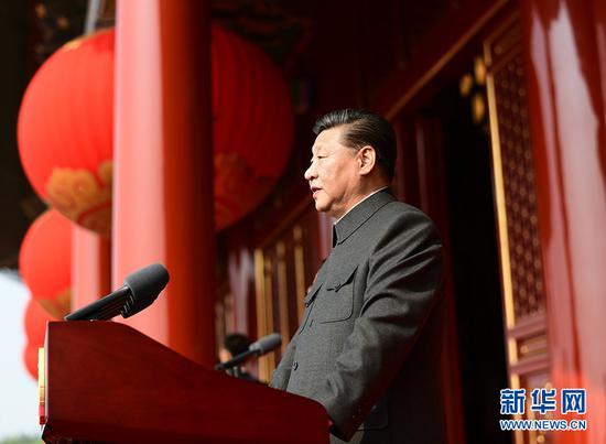 10月1日上午,庆祝中华人民共和国成立70周年大会在北京天安门广场隆重举行。中共中央总书记、国家主席、中央军委主席习近平发表重要讲话。 新华社记者 谢环驰 摄