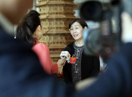 一位代表在接受记者采访。新华社记者刘卫兵摄