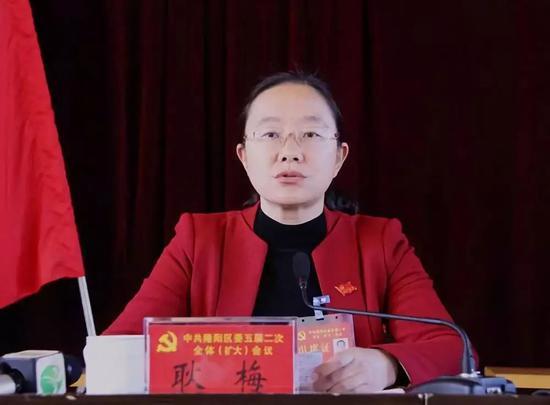 2016年12月30日,中国共产党隆阳区第五届委员会第二次全体(扩大)会议,耿梅代表区委常委会作了工作报告。(隆阳区新闻网图)