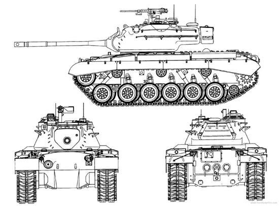 ▲M47坦克三视图