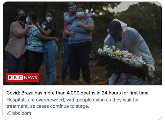 巴西单日新冠病例死亡数首次超过4000。/BBC报道截图