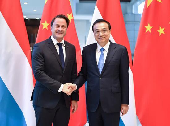 李克强总理会见卢森堡首相贝泰尔 图自中国政府网