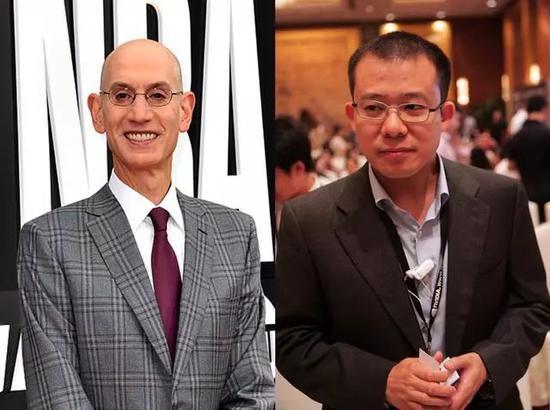 NBA总裁肖华(左)与腾讯总裁刘炽平(图/视觉中国)