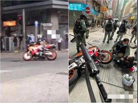 骑车撞向警察的外子(图源:网络)