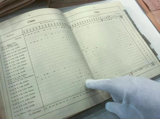 """图为克虏伯基金会保存的出售现在录,其中有向""""经远""""""""来远""""""""致远""""""""靖远""""舰供答火炮的记录。(新华社记者张远摄)"""