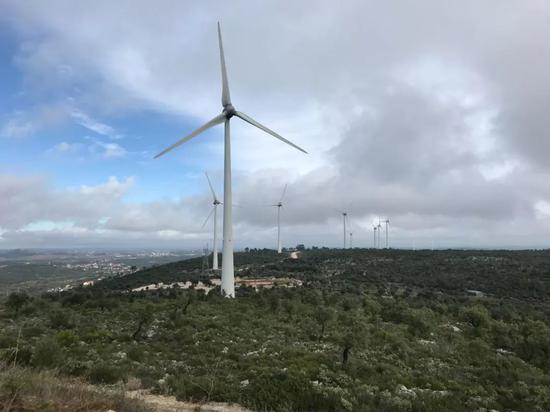△这是中国三峡和葡萄牙电力共同投资的风电场。(央视记者杨姗姗拍摄)