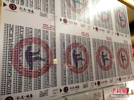 2000多个咏春学员名字墙。许青青 摄