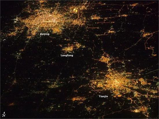 从太空俯瞰北京、天津和廊坊(图源NASA)