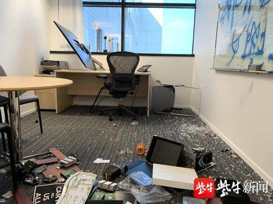 须江教授的办公室被砸