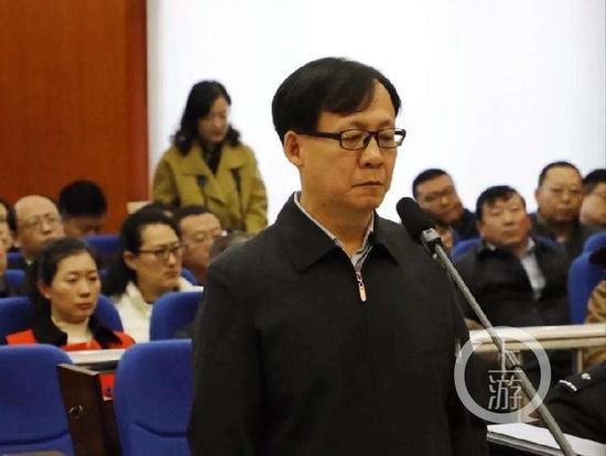 ▲贾剑涛贪污、受贿案庭审现场。