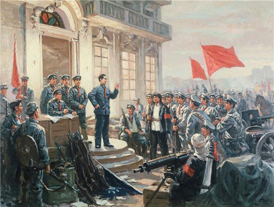 这是南昌起义主题油画。新华社发
