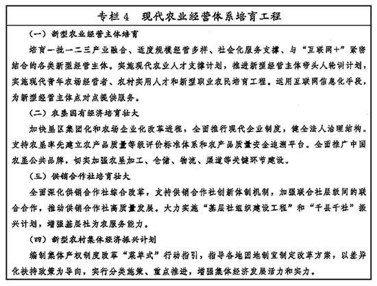 专栏4 现代农业经营体系培育工程 新华社发