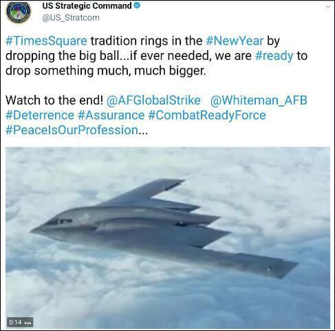 网友保存的美国战略司令部推特截图