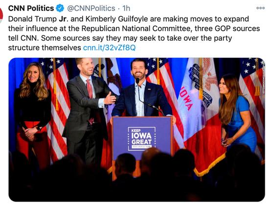 CNN:小唐纳德和女友试图扩大在共和党的影响力。