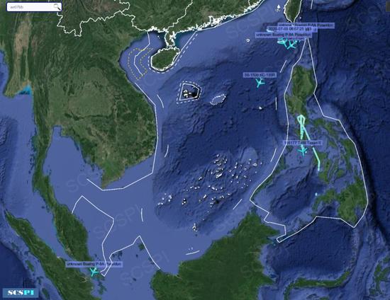 7月3日,美国军机在南海海域的飞行轨迹(图源:SCSPI平台)