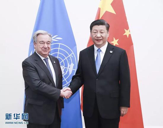 (图:6月28日,国家主席习近平在大阪会见联合国秘书长古特雷斯。)