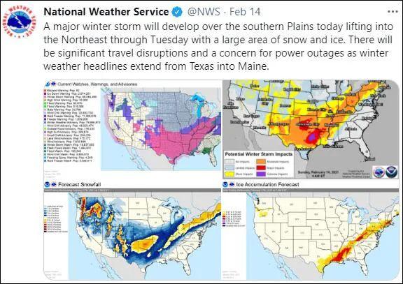 美国国家气象局预计将会出现严重交通中断与停电问题 图自官方社交账号