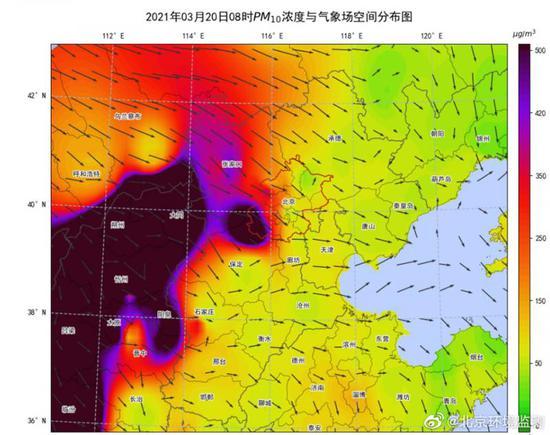 沙尘已进京!西部和西北部地区PM10浓度明显升高