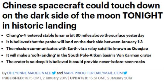 英国《每日邮报》2日就撰文展望嫦娥四号的落地时间。(图源:截图)
