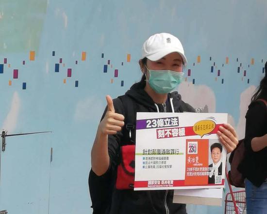 香港市民手持海报支持23条立法