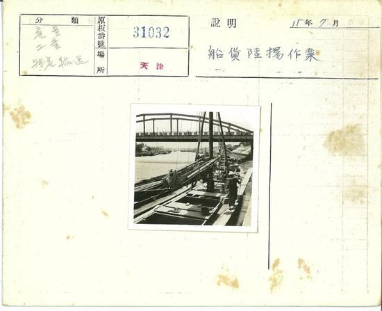 天津1940年7月,卸船作业。