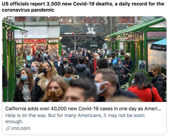 美国官员通知了3500例新添物化亡病例,打破单日物化亡病例纪录。/ CNN报道截图