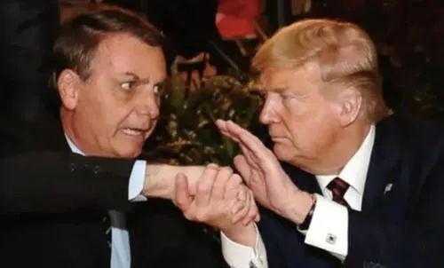 博索纳罗和特朗普握手原料图