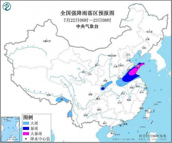 暴雨预警:山东东部和南部等地局部地区有大暴雨