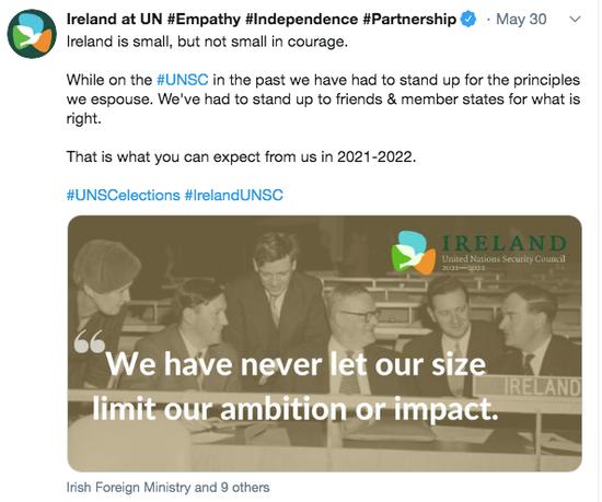 爱尔兰在社交媒体进行竞选宣传。/社交媒体截图