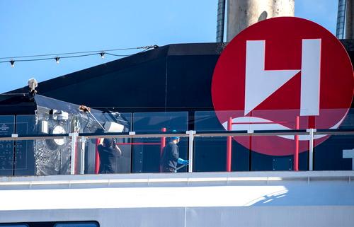 """这是8月2日在挪威北部港口特罗姆瑟拍摄的""""罗阿尔·阿蒙森""""号游轮。新华社/欧新社"""