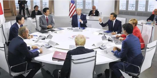 2019年8月,七国集团领导人在法国比亚里茨开会。图源:共同社