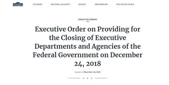 """""""美国联邦当局各走政部分和机构将于12月24日关闭""""(白宫网站截图)"""