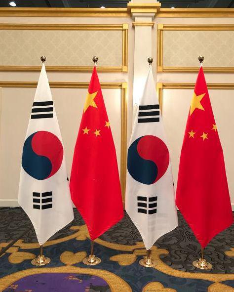 (图:会见现场的中韩两国国旗。)