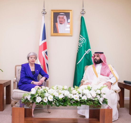 英国首相特蕾莎·梅与沙特王储会面 图片来自沙特社交部