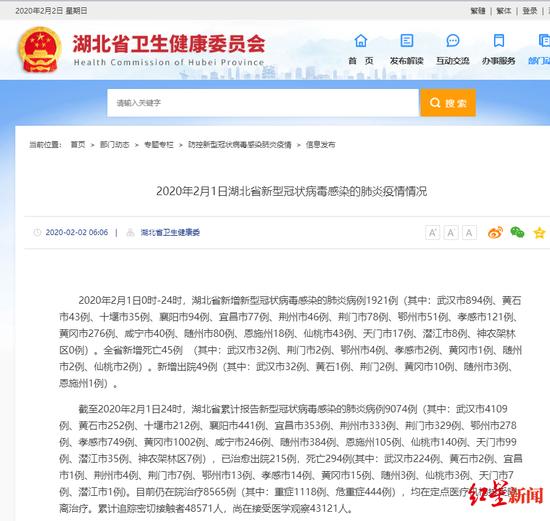 湖北黄冈新冠肺炎确诊1002例:全国第2个破千城市