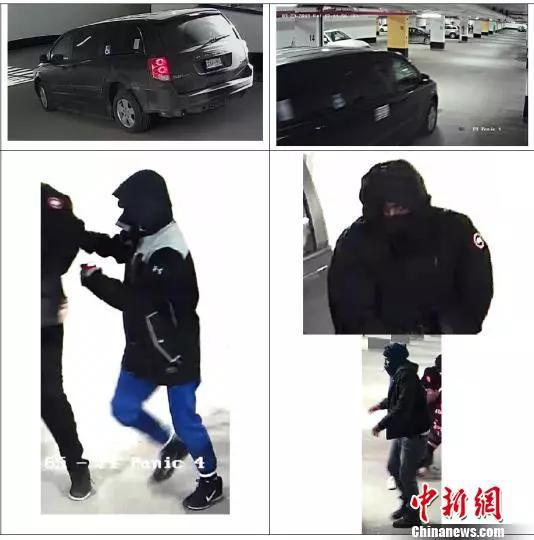 警方公布的现场监控视频显示的嫌犯及作案所用车辆画面。