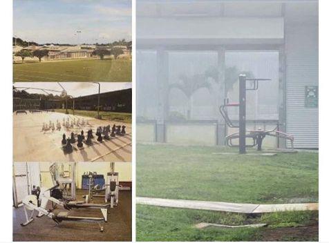 (左图为宣传层上的隔离中心的健身器材,右图为实际可用的器材……)