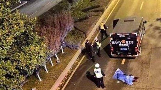 现场图片表现一辆暗色押运车停在公路上。来源湖北公安厅官方微博