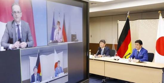 日德两国政府4月13日以视频会议方式举行首次外长防长会议(2+2)