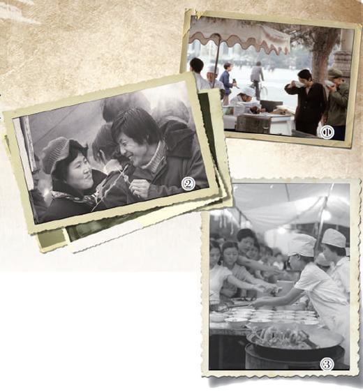 图①:1983年,北京街头的幼吃摊。 图②:1985年,北京地坛庙会上,市民在品尝羊肉串。 图③:1984年,北京东华门夜市上,市民列队抢购风味幼吃。  人民视觉