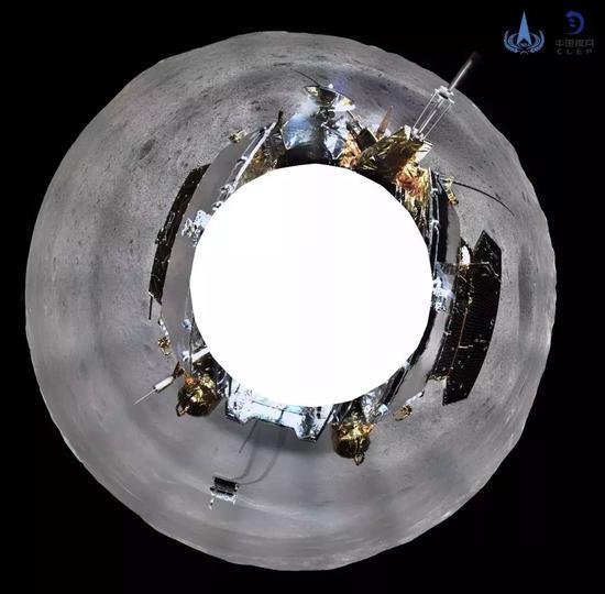 ▲嫦娥四号着陆器地形地貌相机环拍全景图(方位投影)。新华社发(国家航天局 供图)