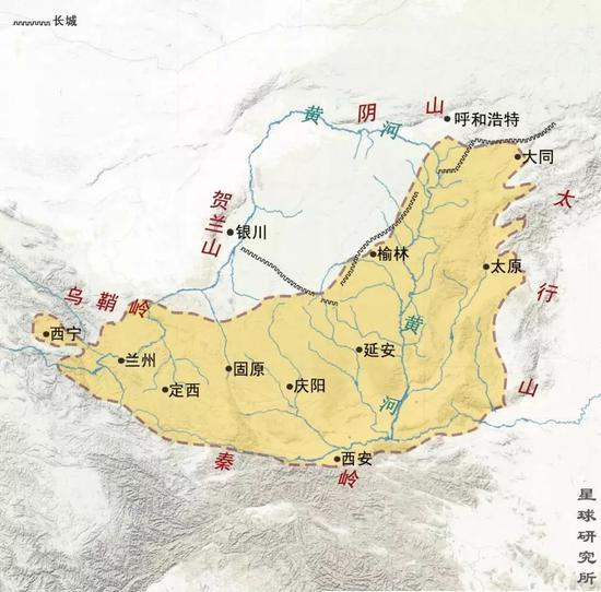 黄土高原范围示意图,依据@尤联元等著《中国地貌》,制图@刘昊冰/星球研究所