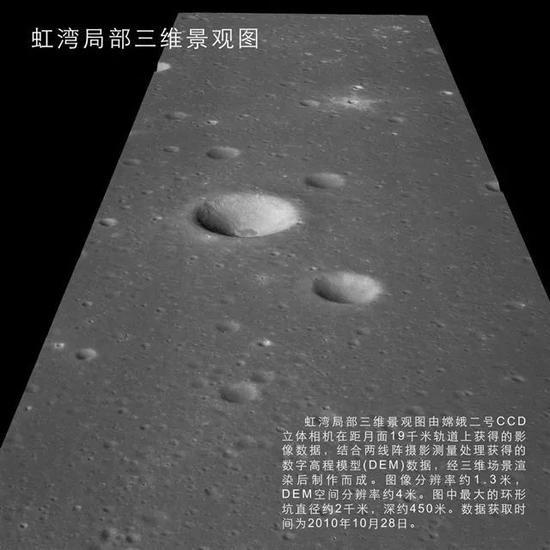 嫦娥二号获取的月球正面虹湾地区部门三维景不都雅图