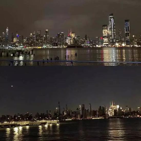 有电和没电的曼哈顿对照(图片起源:Twitter)