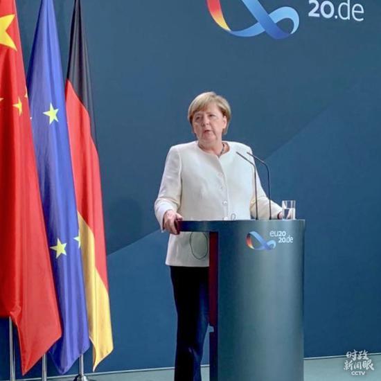 △视频会晤后,德国总理默克尔出席新闻发布会。