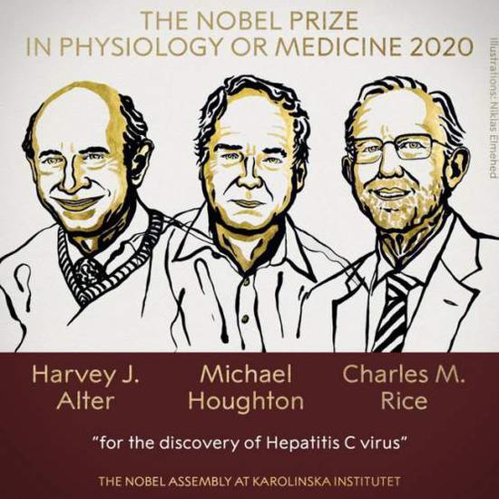 2020年诺贝尔生理学或医学奖得主哈维•阿尔特、迈克尔•亨顿和查尔斯•赖斯。
