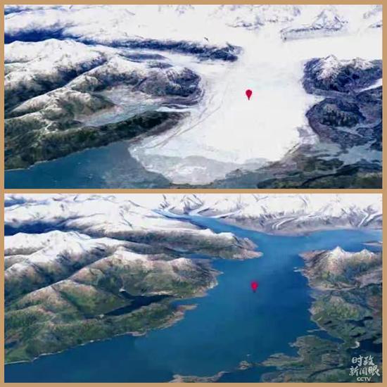 △阿拉斯加,哥伦比亚冰川(上图为1984年,下图为2020年)。哥伦比亚冰川是世界上变化最快的冰川之一,通过照片能清晰看到气候变暖导致冰川不断消退。(资料图)